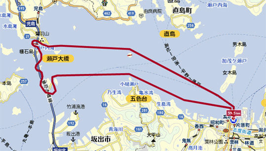 瀬戸大橋クルージング案内図